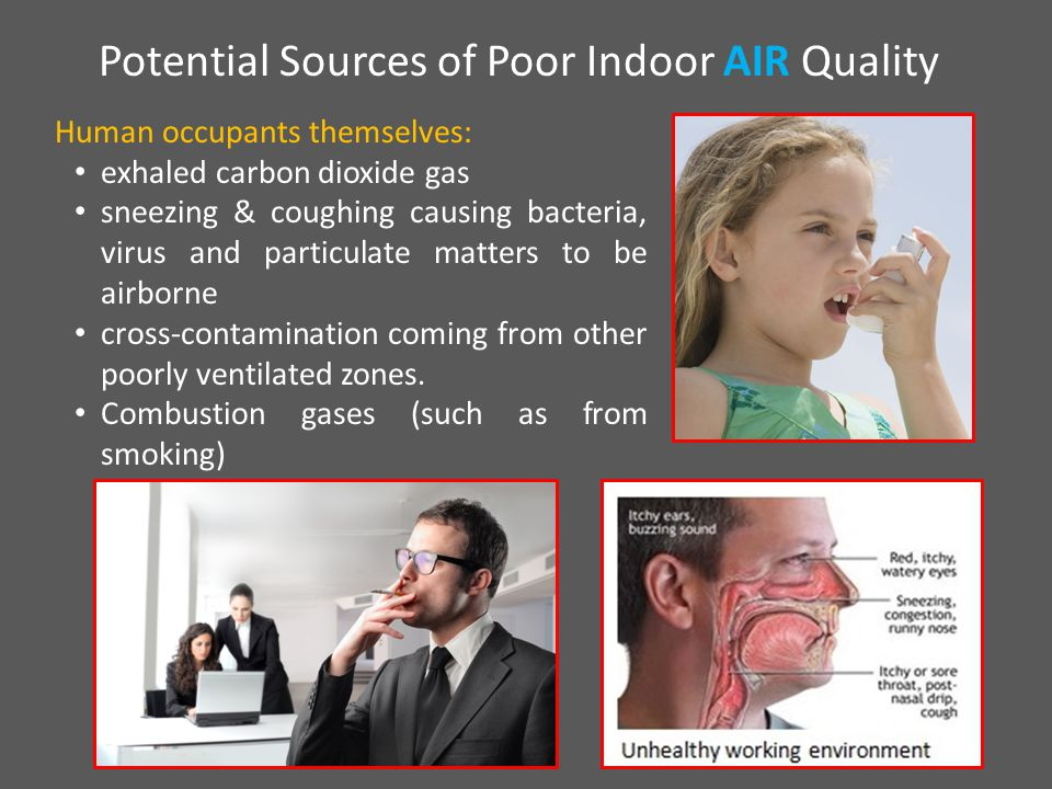 Human occupants themselves: exhaled carbon dioxide gas sneezing & coughing causing bacteria, virus and particulate matters to be airborne cross-contamination coming from other poorly ventilated zones.