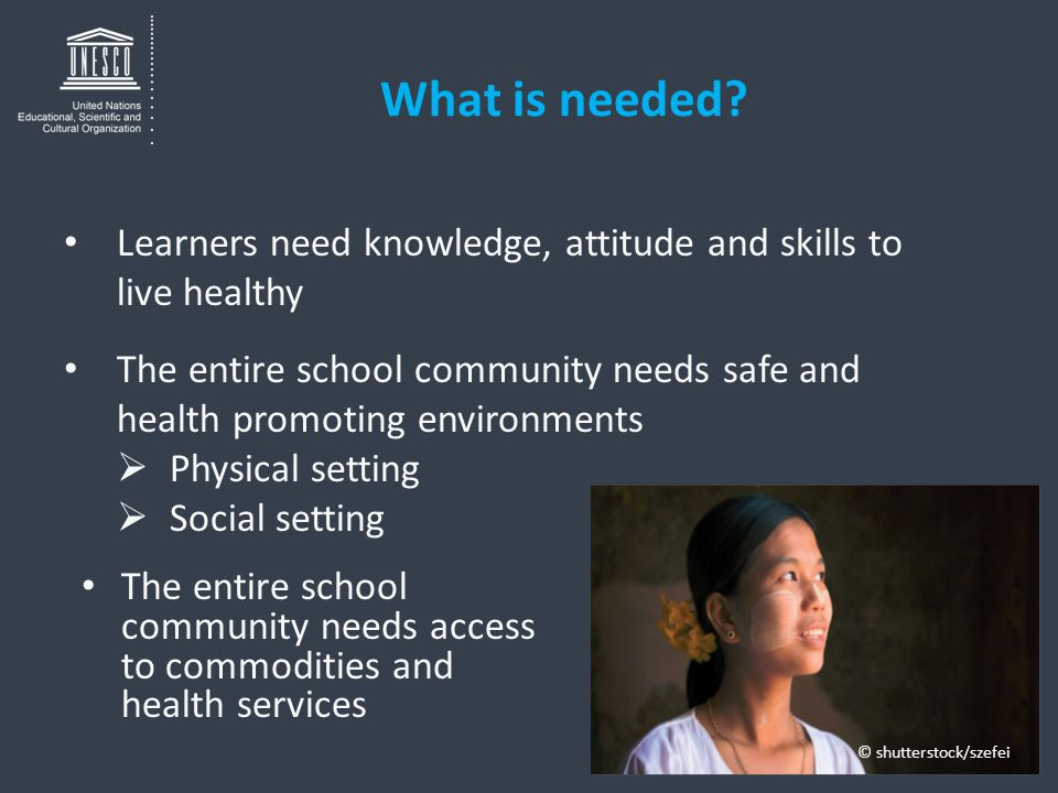 What is needed? The entire school community needs access to commodities and health services Learners need knowledge, attitude and skills to live healt