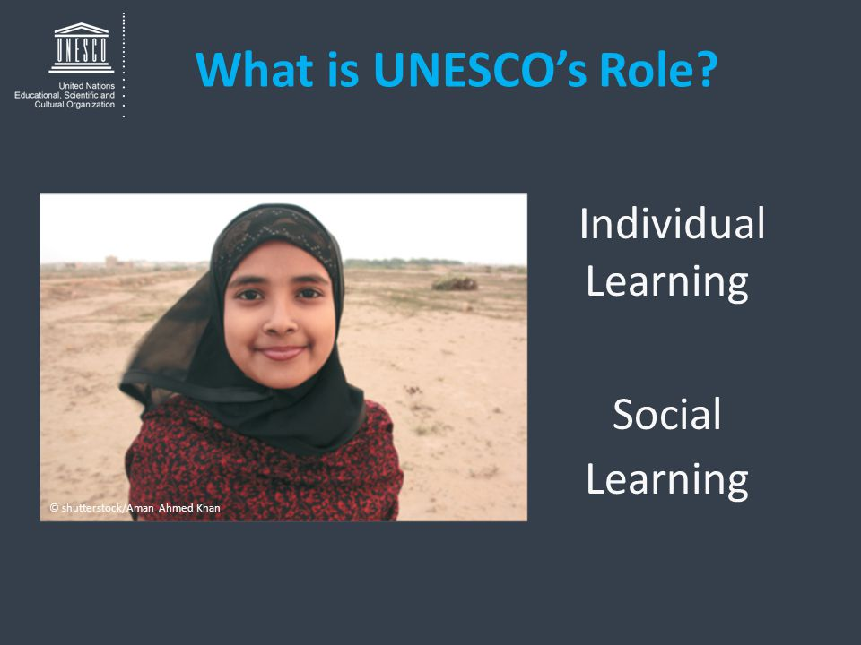 What is UNESCO's Role? Individual Learning Social Learning © shutterstock/Aman Ahmed Khan