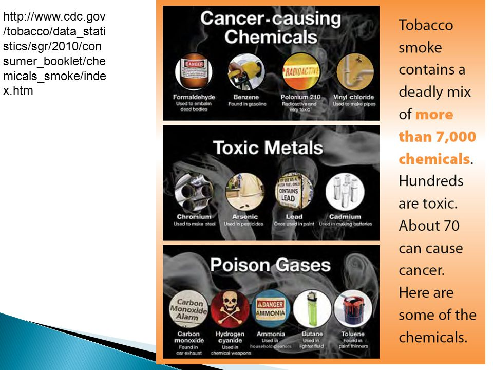 http://www.cdc.gov /tobacco/data_stati stics/sgr/2010/con sumer_booklet/che micals_smoke/inde x.htm