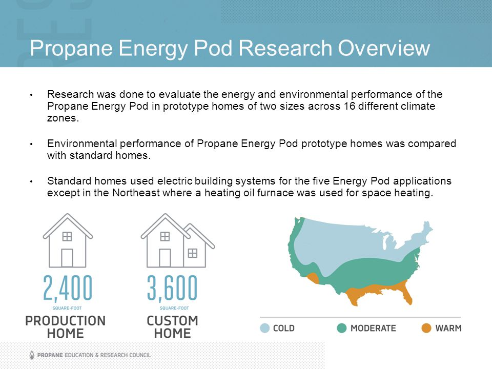 Propane Energy Pod Research Overview Research was done to evaluate the energy and environmental performance of the Propane Energy Pod in prototype homes of two sizes across 16 different climate zones.