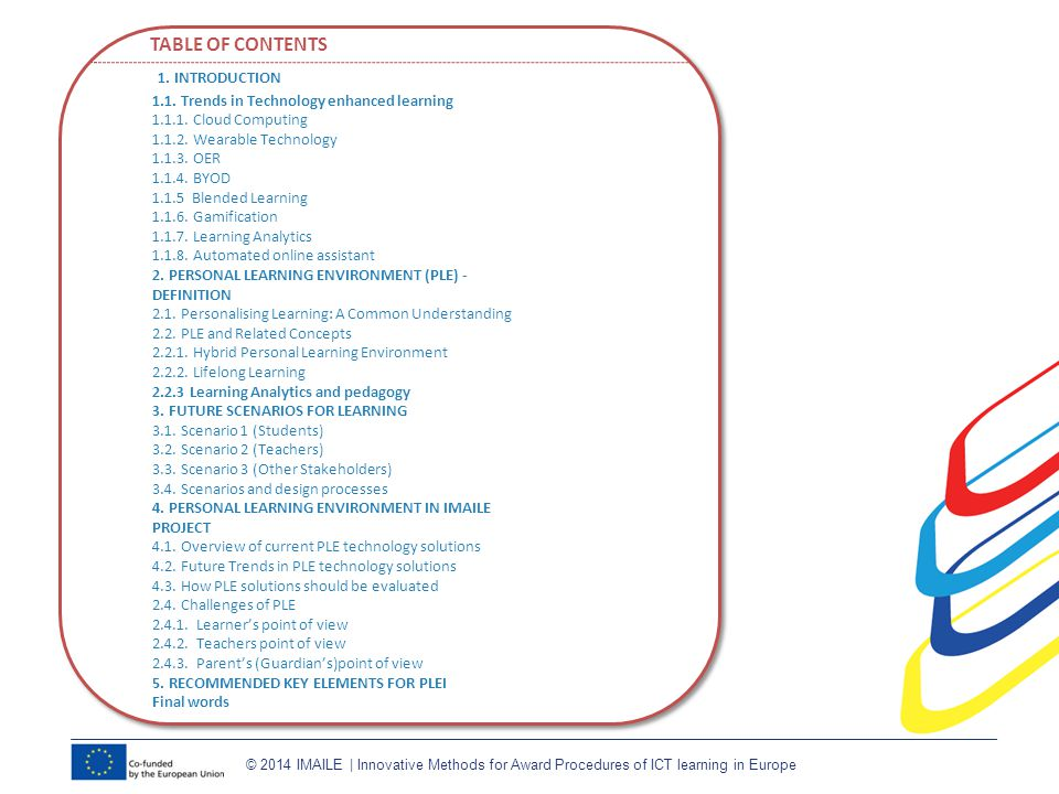 TABLE OF CONTENTS 1. INTRODUCTION 1.1. Trends in Technology enhanced learning 1.1.1.