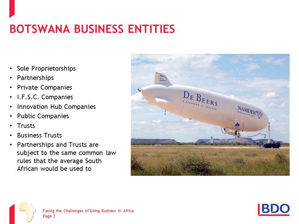 BOTSWANA BUSINESS ENTITIES Sole Proprietorships Partnerships Private Companies I.F.S.C. Companies Innovation Hub Companies Public Companies Trusts Bus