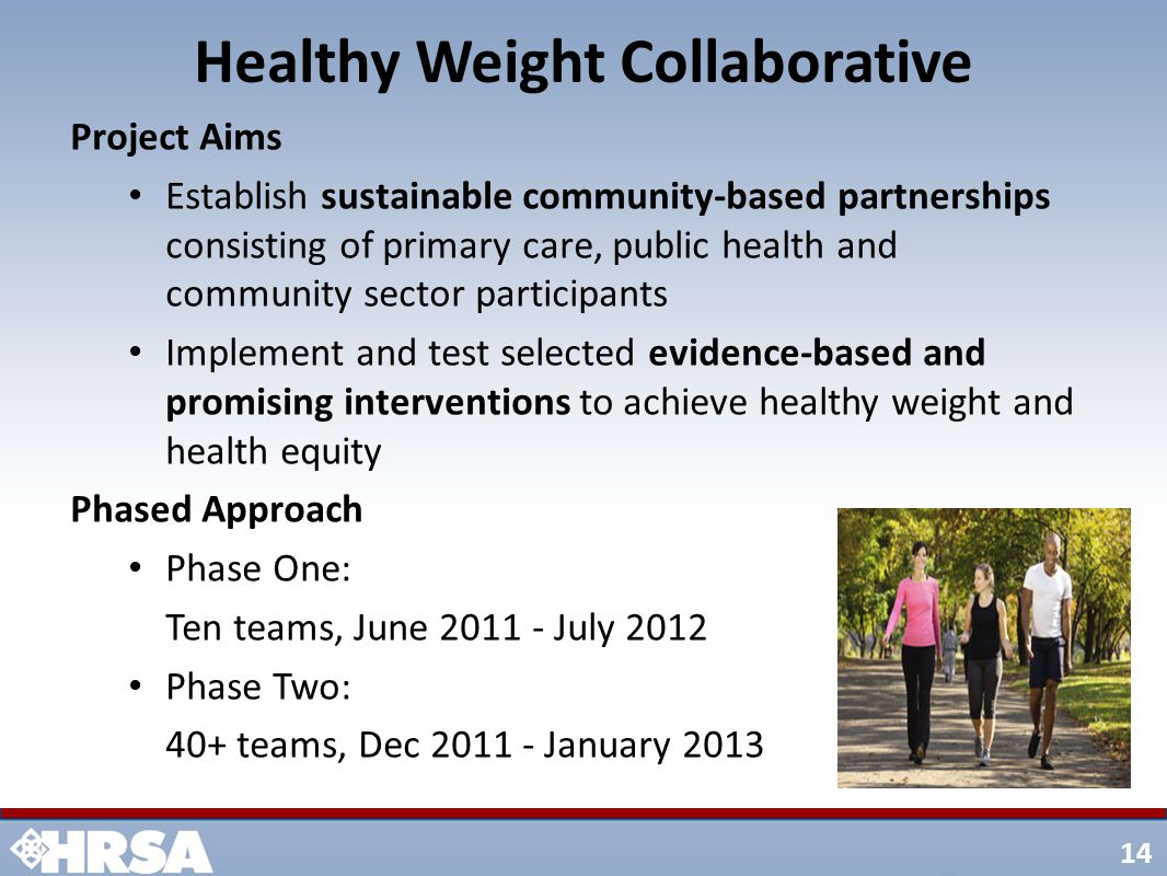 14 Healthy Weight Collaborative Project Aims Establish sustainable community-based partnerships consisting of primary care, public health and community sector participants Implement and test selected evidence-based and promising interventions to achieve healthy weight and health equity Phased Approach Phase One: Ten teams, June 2011 - July 2012 Phase Two: 40+ teams, Dec 2011 - January 2013