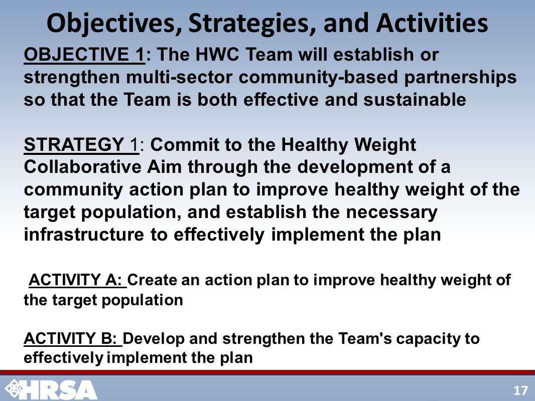 17 Objectives, Strategies, and Activities OBJECTIVE 1: The HWC Team will establish or strengthen multi-sector community-based partnerships so that the Team is both effective and sustainable STRATEGY 1: Commit to the Healthy Weight Collaborative Aim through the development of a community action plan to improve healthy weight of the target population, and establish the necessary infrastructure to effectively implement the plan ACTIVITY A: Create an action plan to improve healthy weight of the target population ACTIVITY B: Develop and strengthen the Team s capacity to effectively implement the plan