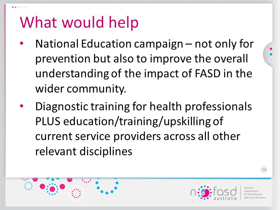 14 What would help National Education campaign – not only for prevention but also to improve the overall understanding of the impact of FASD in the wi
