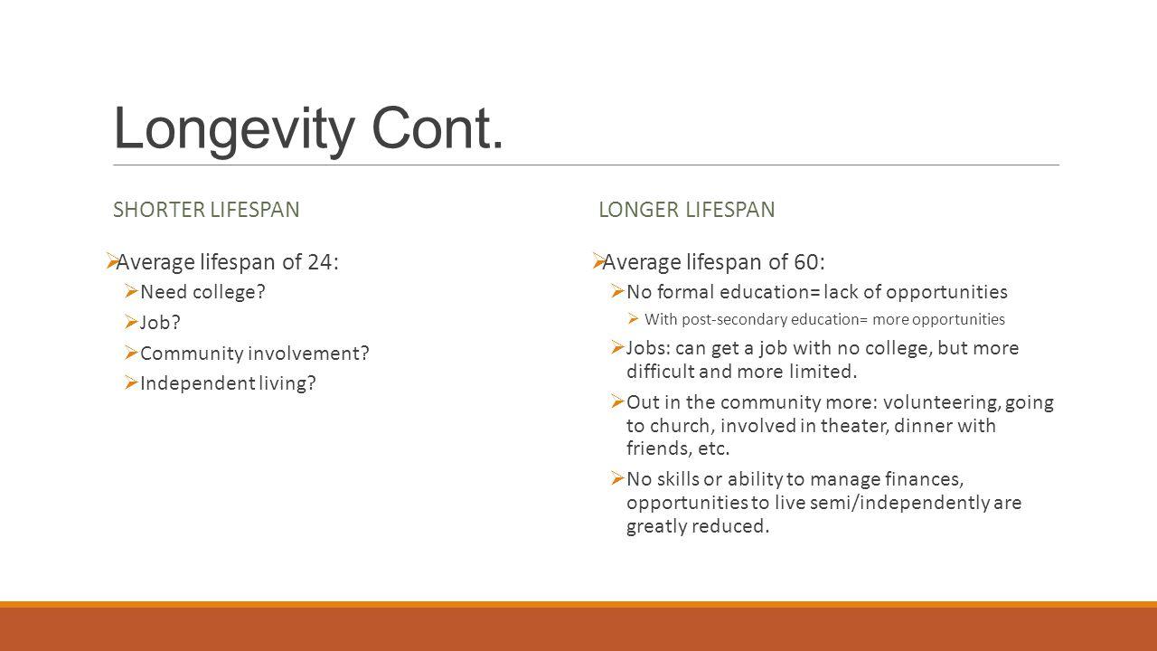 Longevity Cont. SHORTER LIFESPAN  Average lifespan of 24:  Need college?  Job?  Community involvement?  Independent living? LONGER LIFESPAN  Ave