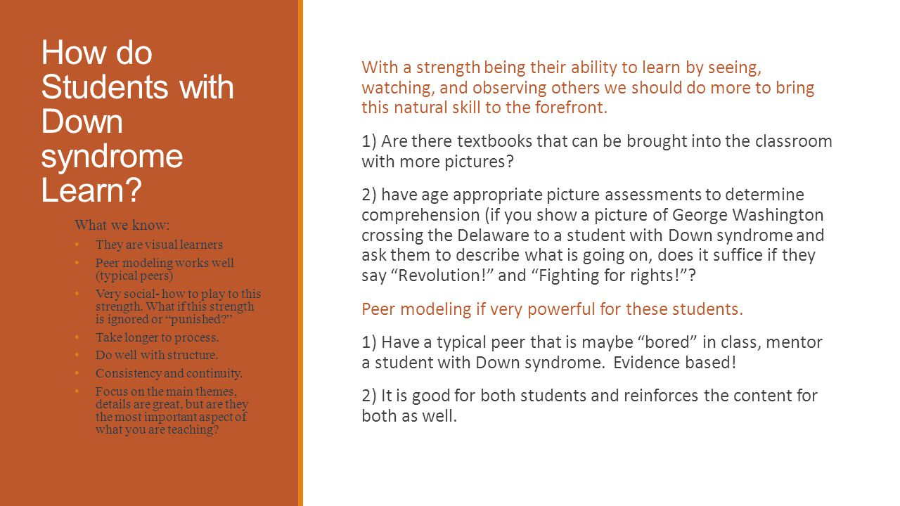 How do Students with Down syndrome Learn.