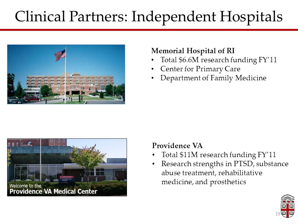 Memorial Hospital of RI Total $6.6M research funding FY'11 Center for Primary Care Department of Family Medicine Providence VA Total $11M research funding FY'11 Research strengths in PTSD, substance abuse treatment, rehabilitative medicine, and prosthetics 19 Clinical Partners: Independent Hospitals