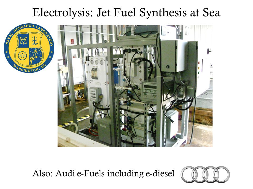 Electrolysis: Jet Fuel Synthesis at Sea Also: Audi e-Fuels including e-diesel