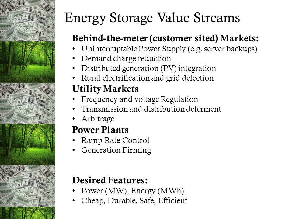Energy Storage Value Streams Desired Features: Power (MW), Energy (MWh) Cheap, Durable, Safe, Efficient Behind-the-meter (customer sited) Markets: Uni