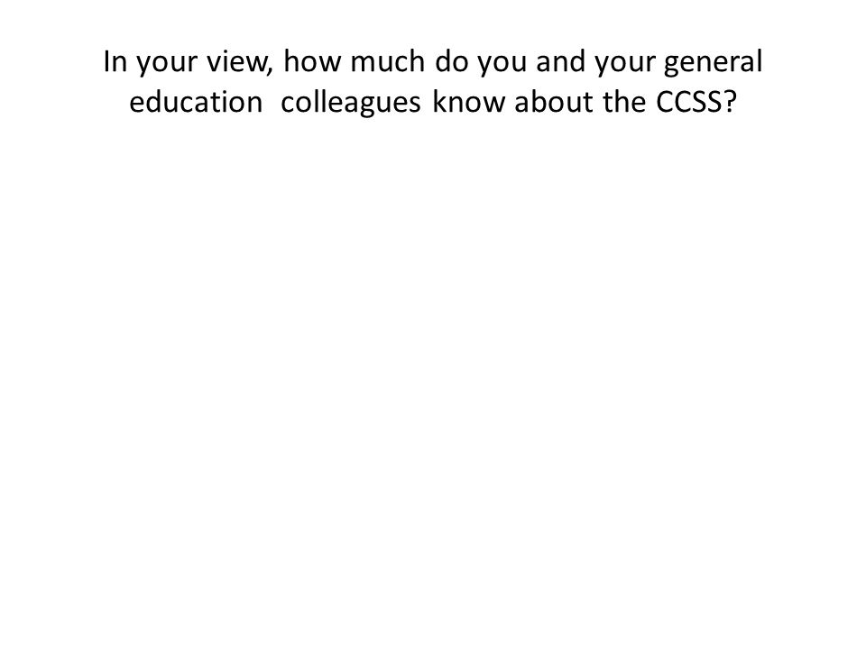 In your view, how much do you and your special education colleagues know about the CCSS