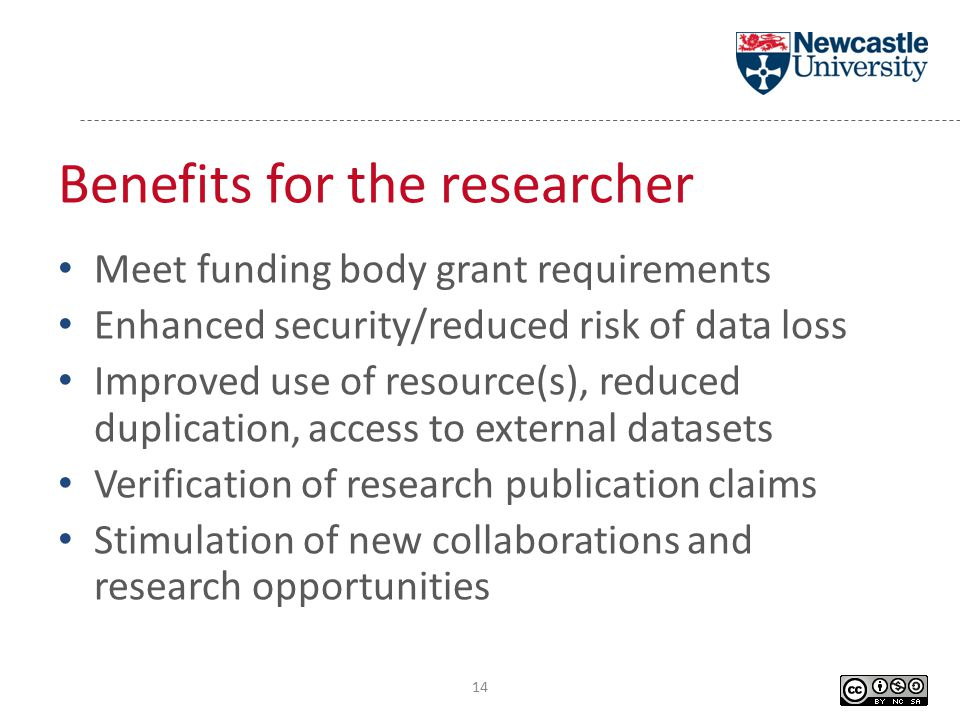 Benefits for the researcher Meet funding body grant requirements Enhanced security/reduced risk of data loss Improved use of resource(s), reduced duplication, access to external datasets Verification of research publication claims Stimulation of new collaborations and research opportunities 14
