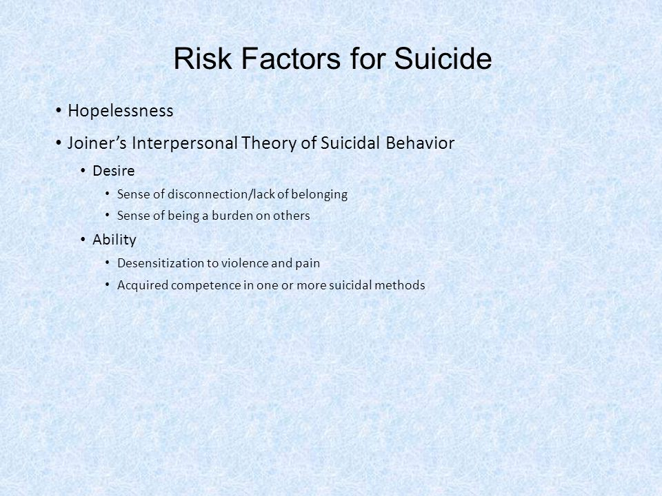 Risk Factors for Suicide Hopelessness Joiner's Interpersonal Theory of Suicidal Behavior Desire Sense of disconnection/lack of belonging Sense of being a burden on others Ability Desensitization to violence and pain Acquired competence in one or more suicidal methods