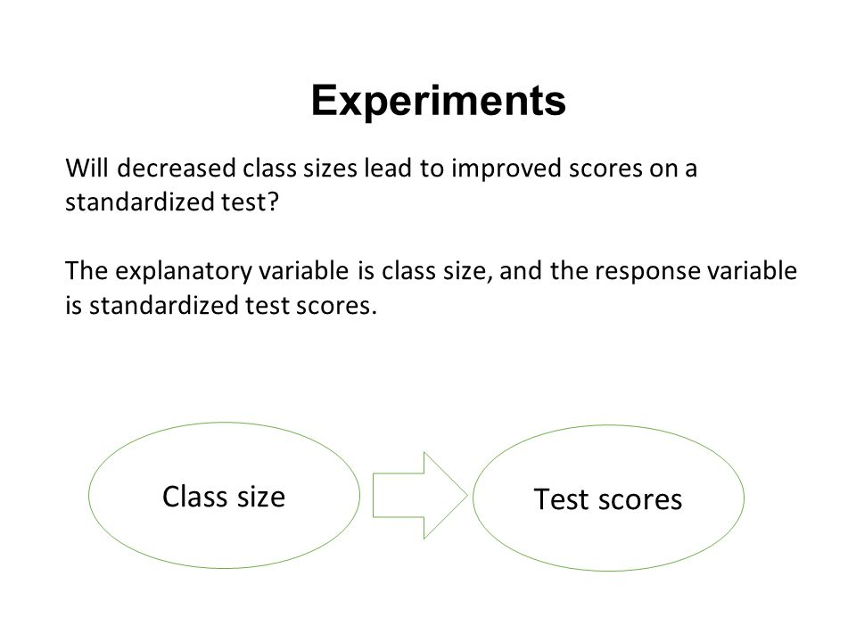 Experiments Will decreased class sizes lead to improved scores on a standardized test.