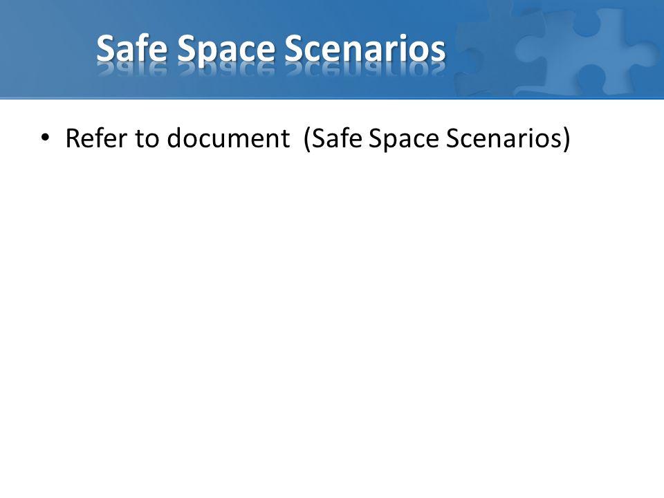 Refer to document (Safe Space Scenarios)