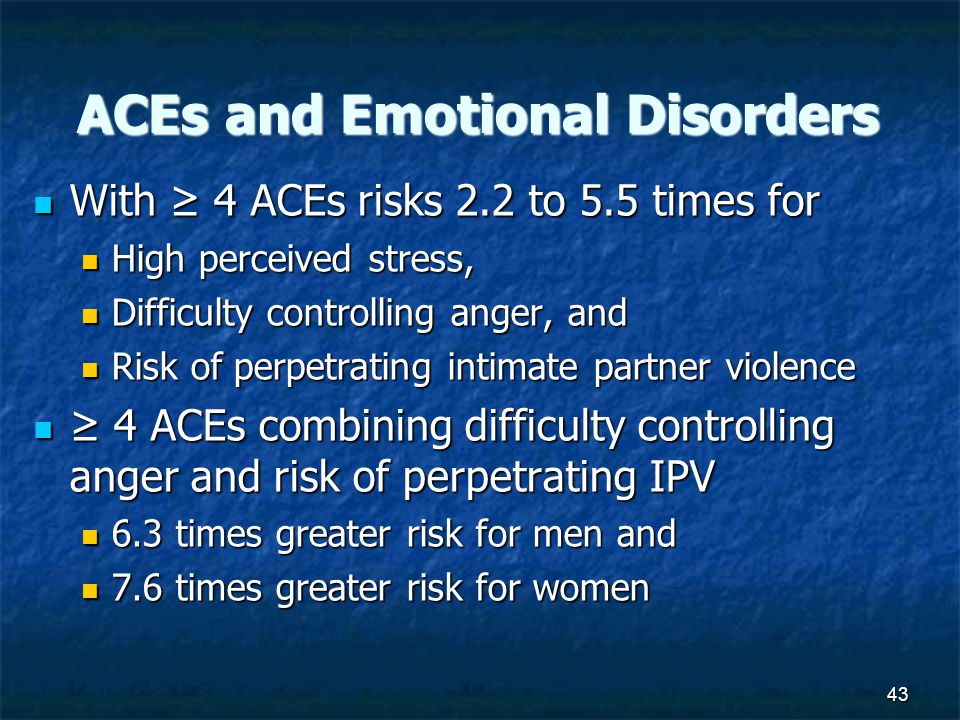 43 ACEs and Emotional Disorders With ≥ 4 ACEs risks 2.2 to 5.5 times for With ≥ 4 ACEs risks 2.2 to 5.5 times for High perceived stress, High perceived stress, Difficulty controlling anger, and Difficulty controlling anger, and Risk of perpetrating intimate partner violence Risk of perpetrating intimate partner violence ≥ 4 ACEs combining difficulty controlling anger and risk of perpetrating IPV ≥ 4 ACEs combining difficulty controlling anger and risk of perpetrating IPV 6.3 times greater risk for men and 6.3 times greater risk for men and 7.6 times greater risk for women 7.6 times greater risk for women