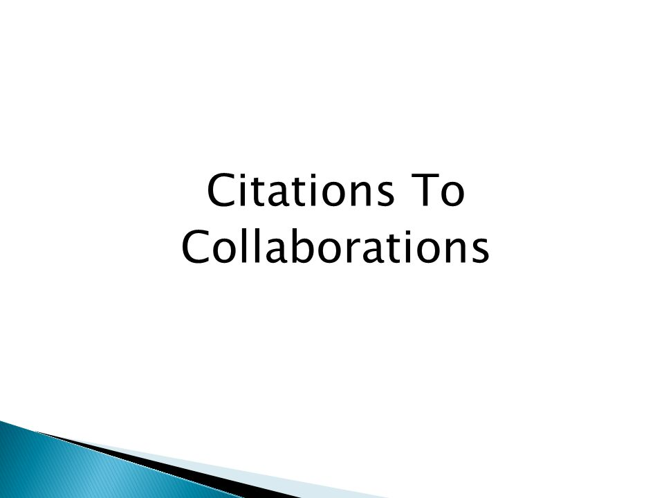 Citations To Collaborations