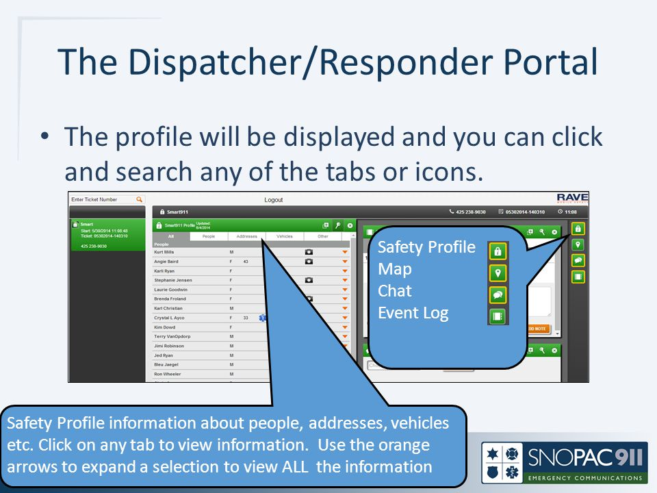 The Dispatcher/Responder Portal The profile will be displayed and you can click and search any of the tabs or icons. Safety Profile Map Chat Event Log