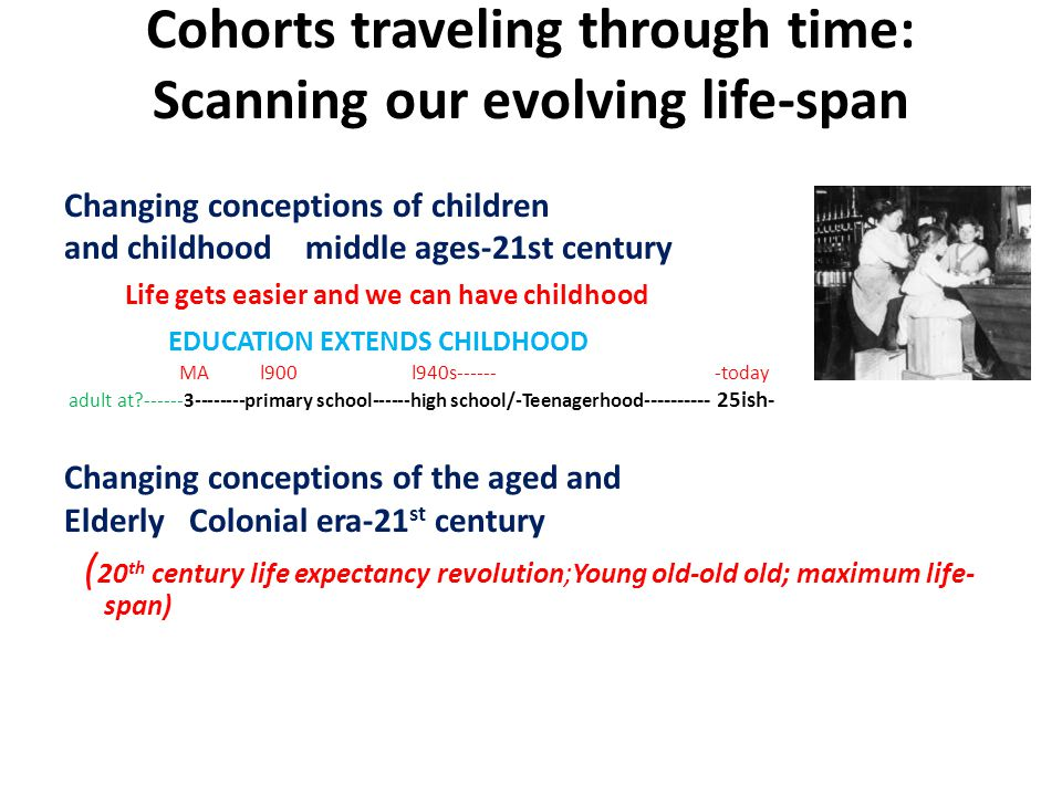 Cohorts traveling through time: Scanning our evolving life-span Changing conceptions of children and childhood middle ages-21st century Life gets easier and we can have childhood EDUCATION EXTENDS CHILDHOOD MA l900 l940s------ -today adult at ------3--------primary school------high school/-Teenagerhood- --------- 25ish- Changing conceptions of the aged and Elderly Colonial era-21 st century ( 20 th century life expectancy revolution;Young old-old old; maximum life- span)