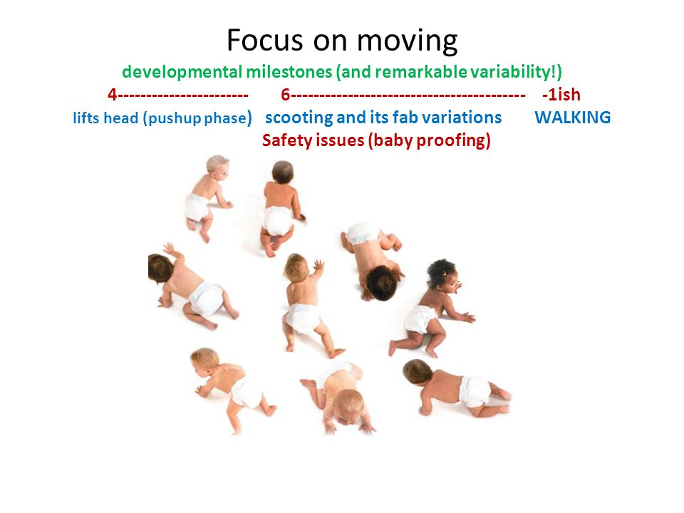 Focus on moving developmental milestones (and remarkable variability!) 4----------------------- 6----------------------------------------- -1ish lifts head (pushup phase ) scooting and its fab variations WALKING Safety issues (baby proofing)