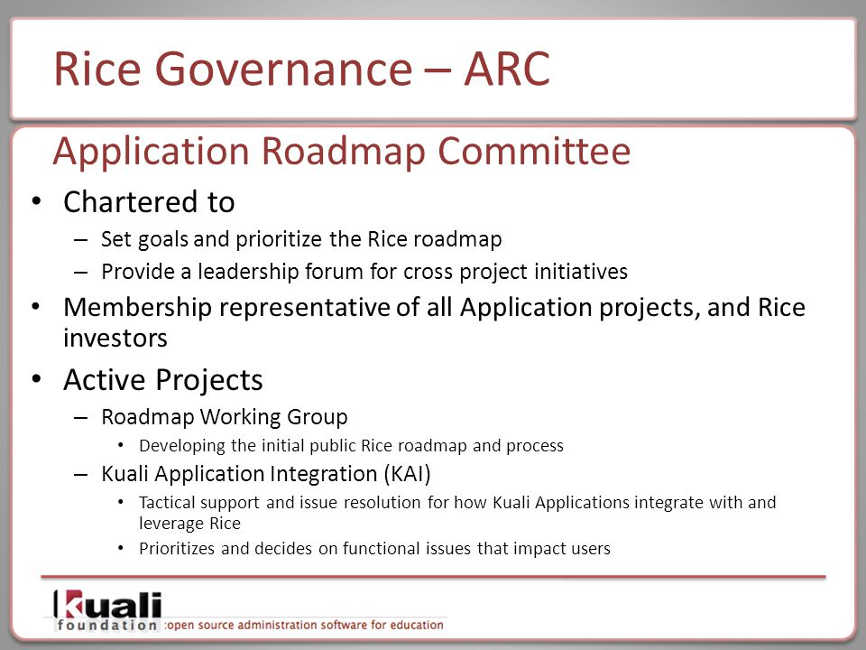 Rice Governance – ARC Chartered to – Set goals and prioritize the Rice roadmap – Provide a leadership forum for cross project initiatives Membership representative of all Application projects, and Rice investors Active Projects – Roadmap Working Group Developing the initial public Rice roadmap and process – Kuali Application Integration (KAI) Tactical support and issue resolution for how Kuali Applications integrate with and leverage Rice Prioritizes and decides on functional issues that impact users Application Roadmap Committee