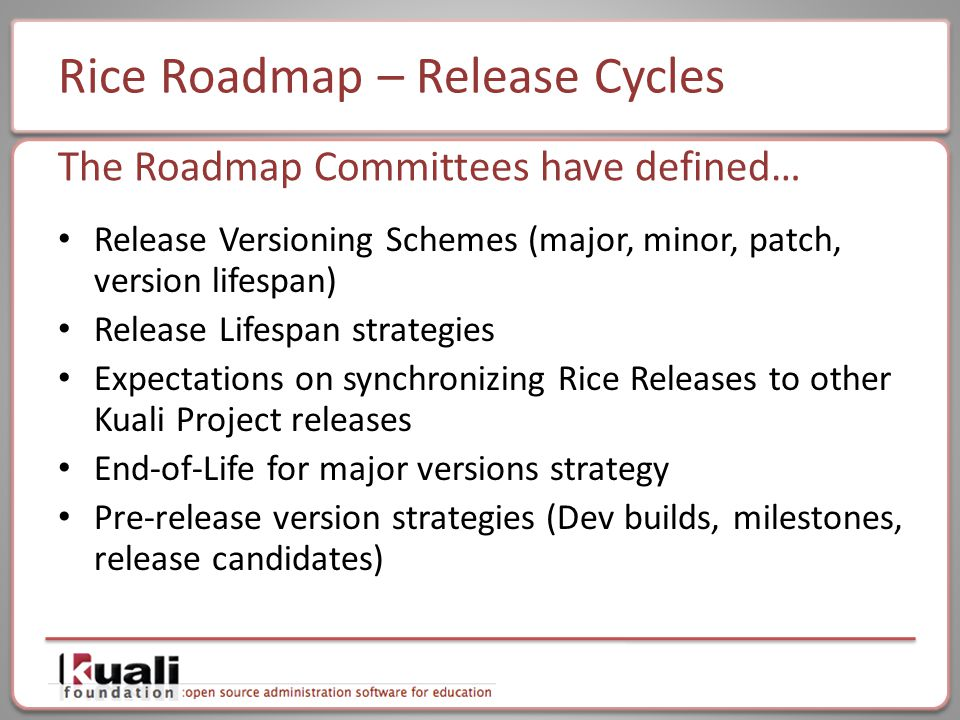 Rice Roadmap – Release Cycles Release Versioning Schemes (major, minor, patch, version lifespan) Release Lifespan strategies Expectations on synchronizing Rice Releases to other Kuali Project releases End-of-Life for major versions strategy Pre-release version strategies (Dev builds, milestones, release candidates) The Roadmap Committees have defined…