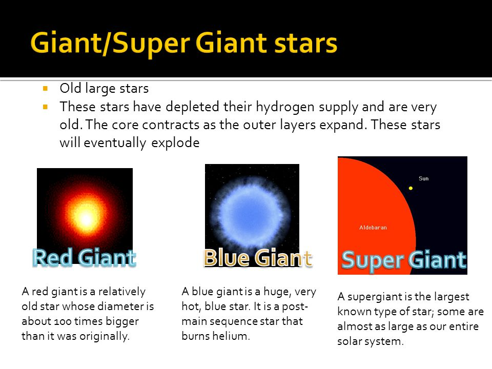 A red giant is a relatively old star whose diameter is about 100 times bigger than it was originally.