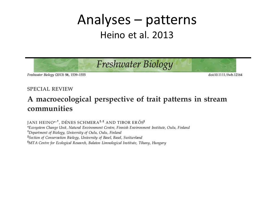 Analyses – patterns Heino et al. 2013