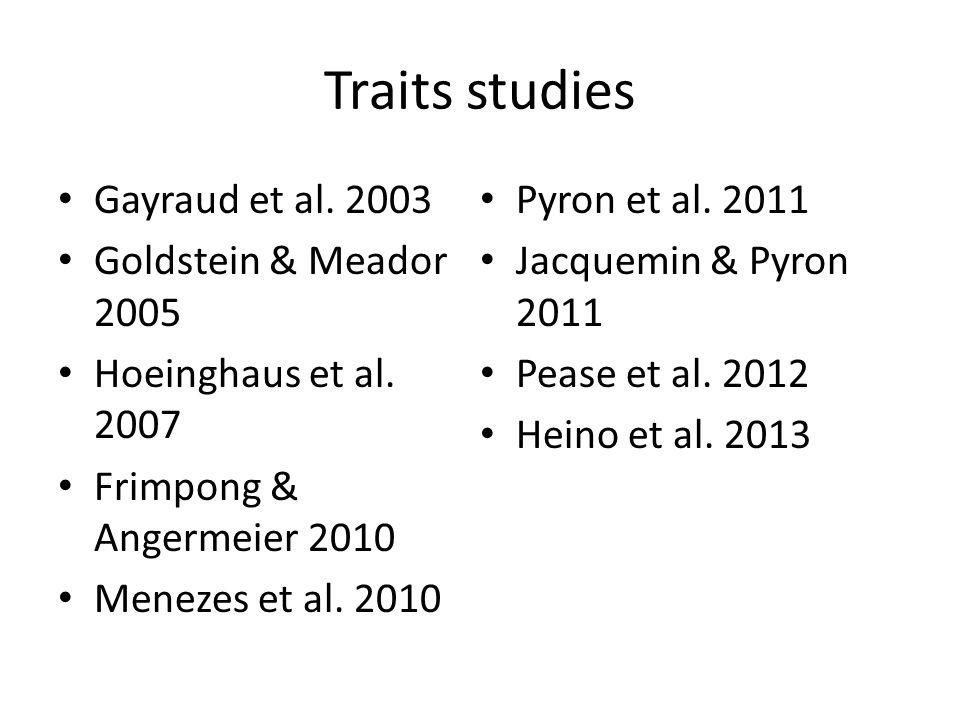 Traits studies Gayraud et al. 2003 Goldstein & Meador 2005 Hoeinghaus et al.