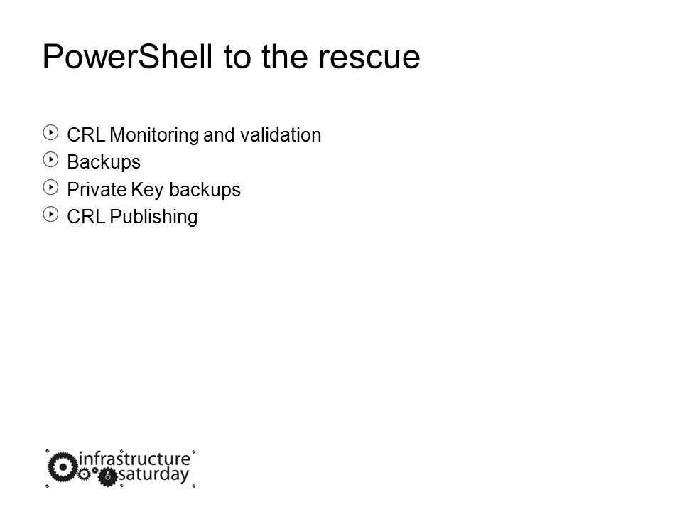 PowerShell to the rescue CRL Monitoring and validation Backups Private Key backups CRL Publishing