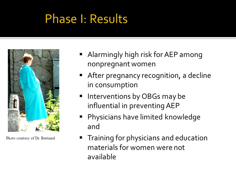  Alarmingly high risk for AEP among nonpregnant women  After pregnancy recognition, a decline in consumption  Interventions by OBGs may be influential in preventing AEP  Physicians have limited knowledge and  Training for physicians and education materials for women were not available Photo courtesy of Dr.