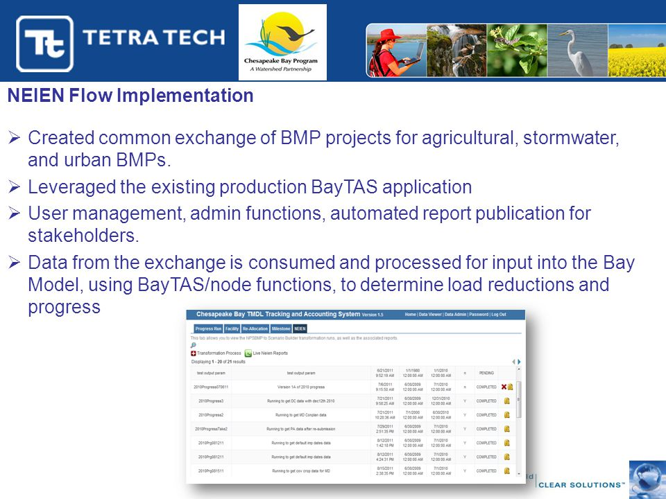 NEIEN Flow Implementation  Created common exchange of BMP projects for agricultural, stormwater, and urban BMPs.  Leveraged the existing production