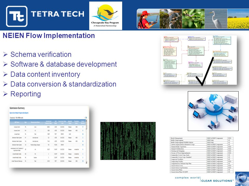 NEIEN Flow Implementation  Schema verification  Software & database development  Data content inventory  Data conversion & standardization  Reporting