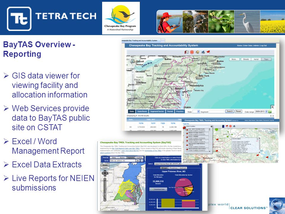 BayTAS Overview - Reporting  GIS data viewer for viewing facility and allocation information  Web Services provide data to BayTAS public site on CSTAT  Excel / Word Management Report  Excel Data Extracts  Live Reports for NEIEN submissions