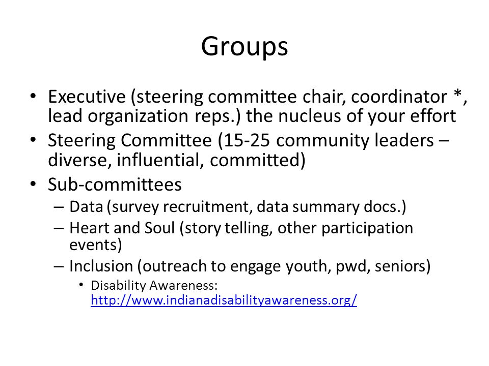 Groups Executive (steering committee chair, coordinator *, lead organization reps.) the nucleus of your effort Steering Committee (15-25 community leaders – diverse, influential, committed) Sub-committees – Data (survey recruitment, data summary docs.) – Heart and Soul (story telling, other participation events) – Inclusion (outreach to engage youth, pwd, seniors) Disability Awareness: http://www.indianadisabilityawareness.org/ http://www.indianadisabilityawareness.org/