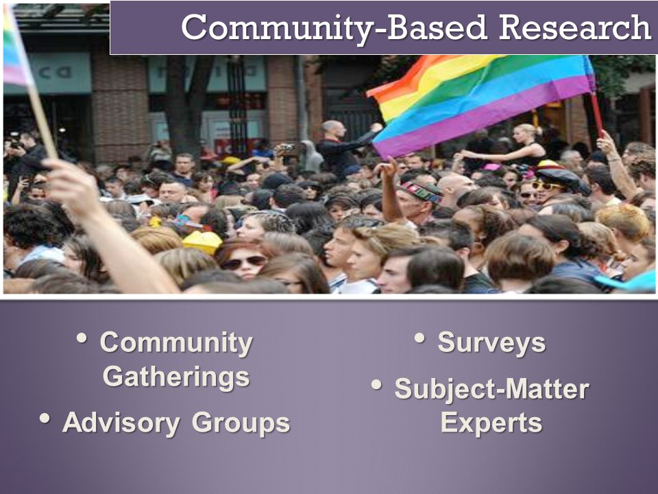 Community-Based Research Community Gatherings Community Gatherings Advisory Groups Advisory Groups Surveys Surveys Subject-Matter Experts Subject-Matt