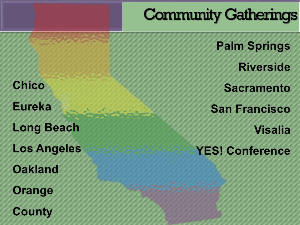Palm Springs Riverside Sacramento San Francisco Visalia YES! Conference Chico Eureka Long Beach Los Angeles Oakland Orange County Community Gatherings