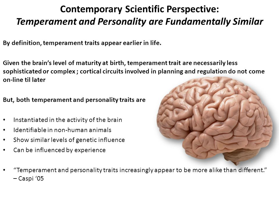 Contemporary Scientific Perspective: Temperament and Personality are Fundamentally Similar By definition, temperament traits appear earlier in life. G