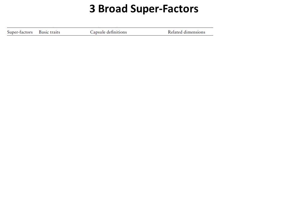 3 Broad Super-Factors Zentner et al. 2012; cf. Caspi et al 2005