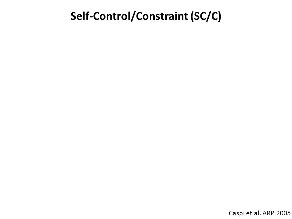 Self-Control/Constraint (SC/C) Caspi et al. ARP 2005 SC/C High SC/C: responsible, attentive, careful, persistent, orderly, and planful Low SC/C: irres