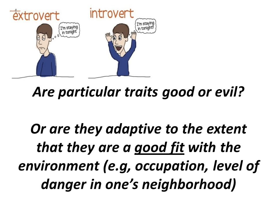 Are particular traits good or evil? Or are they adaptive to the extent that they are a good fit with the environment (e.g, occupation, level of danger