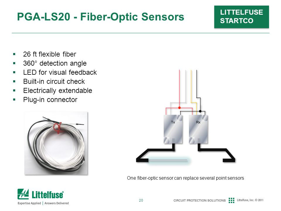 20 LITTELFUSE STARTCO PGA-LS20 - Fiber-Optic Sensors One fiber-optic sensor can replace several point sensors  26 ft flexible fiber  360° detection angle  LED for visual feedback  Built-in circuit check  Electrically extendable  Plug-in connector