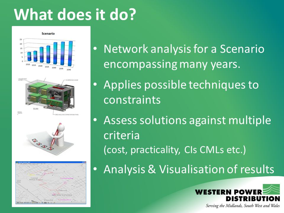 What does it do? Network analysis for a Scenario encompassing many years. Applies possible techniques to constraints Assess solutions against multiple