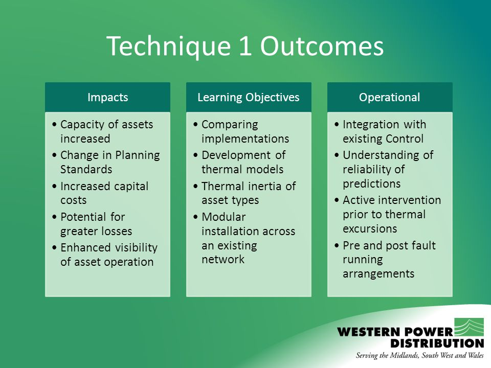 Technique 1 Outcomes Impacts Capacity of assets increased Change in Planning Standards Increased capital costs Potential for greater losses Enhanced v