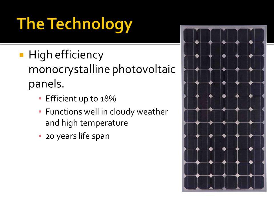  High efficiency monocrystalline photovoltaic panels.