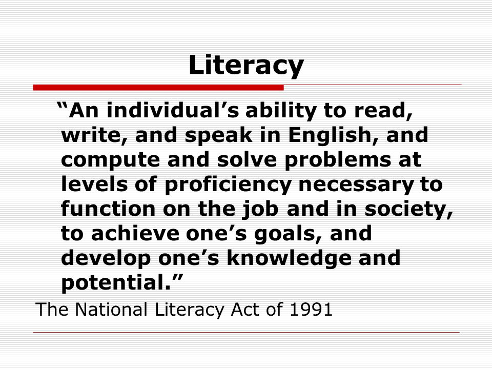 WHO ARE ADULT LITERACY STUDENTS.
