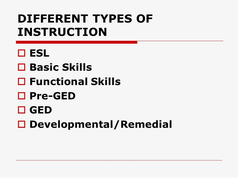 DIFFERENT TYPES OF INSTRUCTION  ESL  Basic Skills  Functional Skills  Pre-GED  GED  Developmental/Remedial