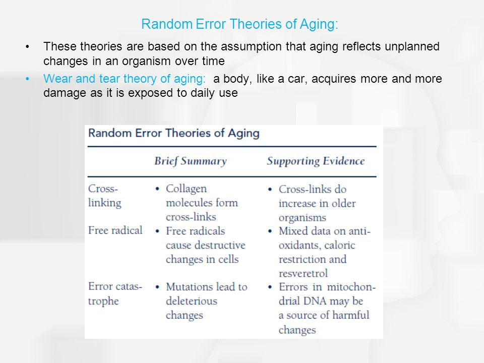 Random Error Theories of Aging: These theories are based on the assumption that aging reflects unplanned changes in an organism over time Wear and tear theory of aging: a body, like a car, acquires more and more damage as it is exposed to daily use