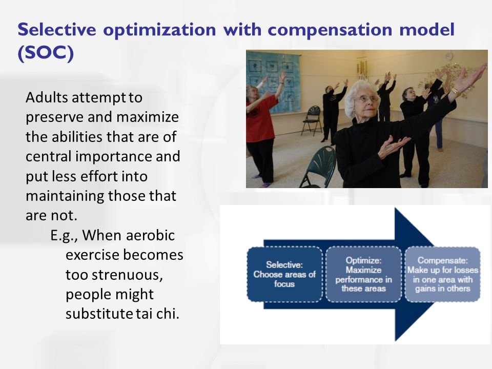 Selective optimization with compensation model (SOC) Adults attempt to preserve and maximize the abilities that are of central importance and put less effort into maintaining those that are not.